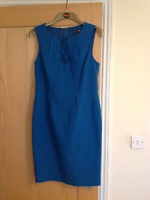 Ladies Oasis blue fitted dress with lace panel, size 12 brand new with tags.