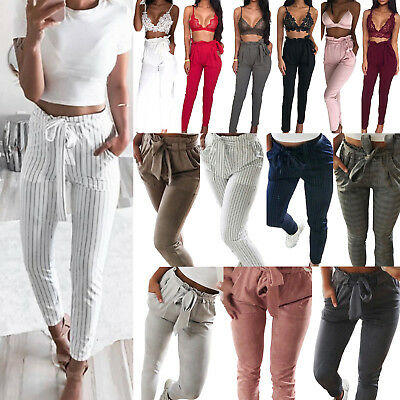 Women High Waisted Tie Belt Skinny Stretch Trousers Long Pencil Pants Office UK