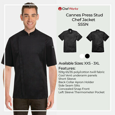 Chef Works Mens Cannes Stud Chef Jacket Coat Hotel Kitchen Restaurant Bar SSSN