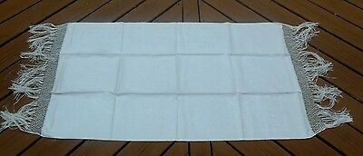 "Vintage Irish Linen Double Damask Large Fringed Runner - 61"" x 26"" - 2 Available"