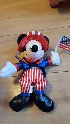 Mickey Mouse Disney Uncle Sam 4th July 2003 Plush Soft Toy, Theme Park Edition