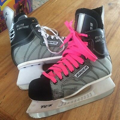 bauer supreme silver lightning ice hockey boots size us5 approx uk 4