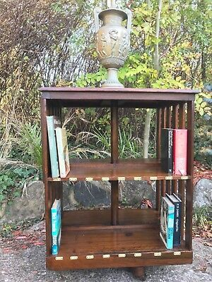 Antique Victorian Oak Revolving Library Bookcase Enamel Indexed Numbered Plaques