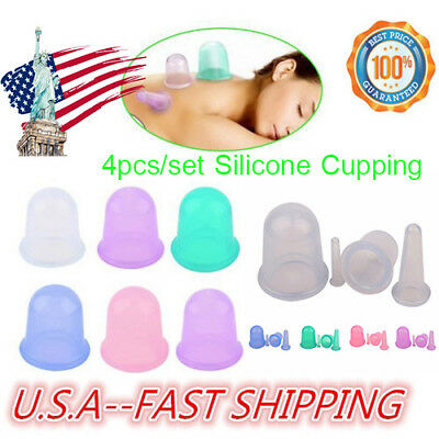 Silicone Anti Cellulite Massage Vacuum Therapy Body Facial Cup Cupping 4Pcs/Set