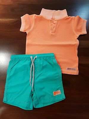 COUNTRY ROAD Boys Polo top and board shorts 18-24 mths EUC