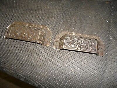 two ANTIQUE EASTLAKE CAST IRON BIN DRAWER PULLS 1880S