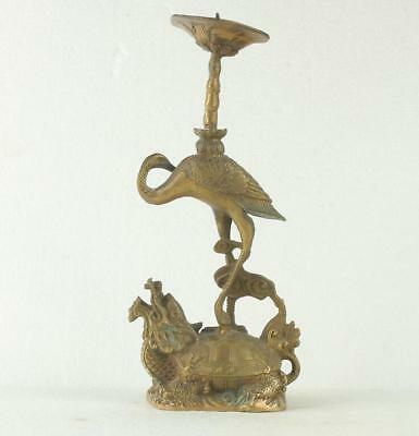 chinese hand made carved turtle & crane brass candlestick statue d02