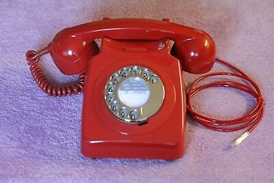 Vintage GPO 746 Red dial telephone converted BT plug in