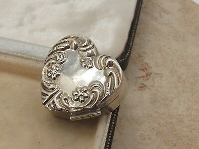Victorian Design Sterling Silver 925 Love Heart Pill Box
