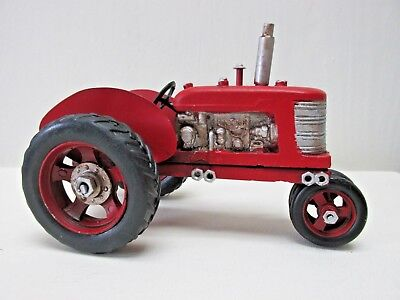 Metal Farm Tractor Red Vintage Style Farmhouse Country Man Cave Decor NEW