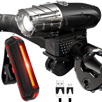 Bike Light USB Rechargeable Lumens Bright Cycling Front LED Headlight Back Tail