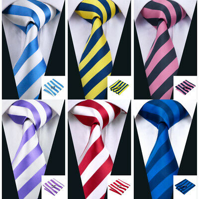 UK Classic Men Ties Necktie Set Silk Blue Red Black Purple Pink Stripe Wedding