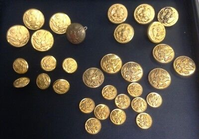 Lot of Waterbury, N.S. Meyer, H.W. & I Schwab Eagle Buttons + Button Parts