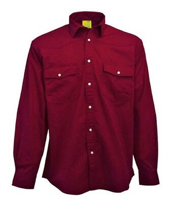 SHIRT Mens Longsleeve Mans Pre-Washed 100% Brushed Cotton Twill Dark Red US