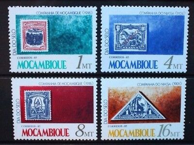 MOZAMBIQUE 1985 Stamp Day Stamp-on-stamps. Set of 4. Mint Never Hinged SG1105/08