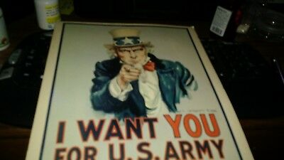 Vtg 1968 Vietnam I Want you for US Army James Montgomery Flagg Cardboard Poster
