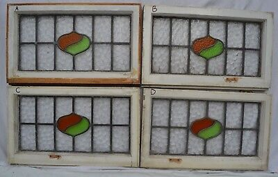 4 art deco leaded light stained glass window panels ABOVE DOOR SIZE. B631a-d