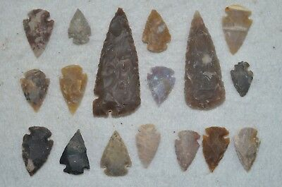 "17 PC Flint Arrowhead Ohio Collection Points 2-3"" Spear Bow Knife Hunting Blade"