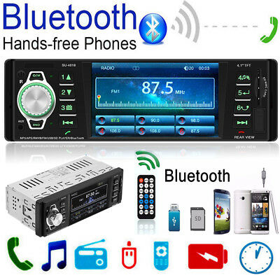 4in 1Din HD Touch Screen BT Car Stereo MP5 Player USB AUX In FM Radio Head Unit