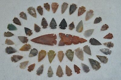 "50 PC Flint Arrowhead Ohio Collection Points 2-3"" Spear Bow Knife Hunting Blade"
