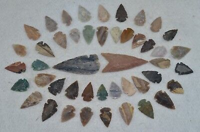 "46 PC Flint Arrowhead Ohio Collection Points 2-3"" Spear Bow Knife Hunting Blade"