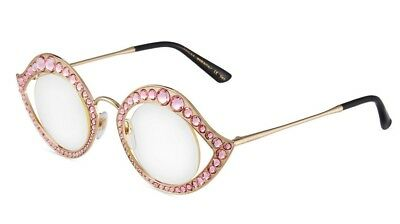 13e5712aa66 New GUCCI CRYSTAL LIPS Cat Eye Round Gold Pink Metal Glasses Sunglasses  GG0046S