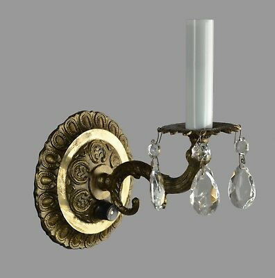 Spanish Brass & Crystal Arm Single Wall Sconce c1960 Vintage Antique Restored