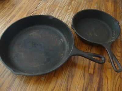 Large & Small Vintage Cast Iron Skillets, Made in USA Lot of 2