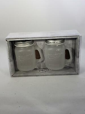 Mason Craft & More - Glass Mason Jar Salt And Pepper - Set of 2 - Frosted White