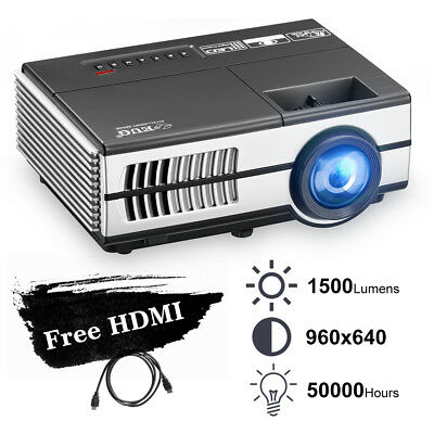 Portable Mini 1500LM LED Projector 1080p Home Theater Party Movie Game HDMI USB