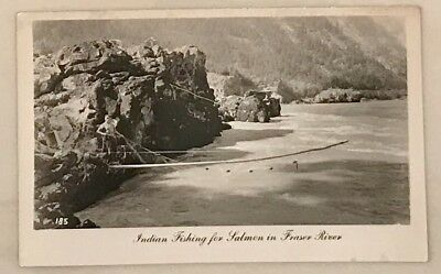 RPPC Postcard Indian Fishing Salmon Fraser River BC Canada Native First Nation