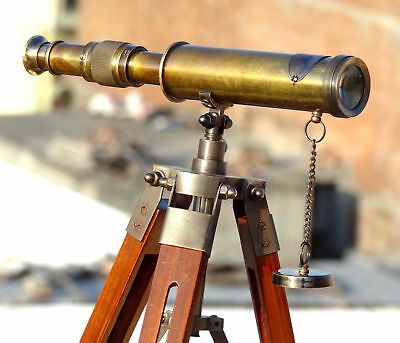 Antique Brass Nautical Telescope With Wooden Tripod Stand Collectible Desk Decor