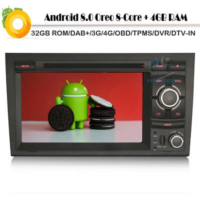 """7""""4G Car DVD GPS Android 8.0 for Audi A4 SEAT EXEO S4 RS4 8E 8F B9 DAB+Autoradio"""