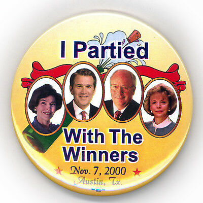"""Scarce  ~  """" I PARTIED WITH THE WINNERS / NOV. 7, 2000""""  ~ Victory Night Button"""