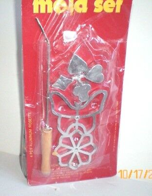 Vintage Metal Aluminum Rosette Cookie Irons Mold Set butterfly flower Woolworth