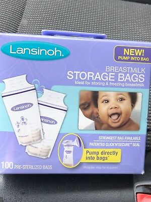 Two Boxes Lansinoh Breast Milk Storage Bags - 100 Each