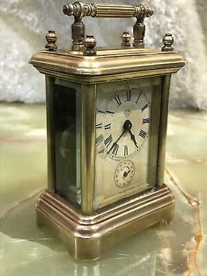 Vintage Antique The Ansonia Alarm Brass Clock Mechanical Key Wound Movement Work
