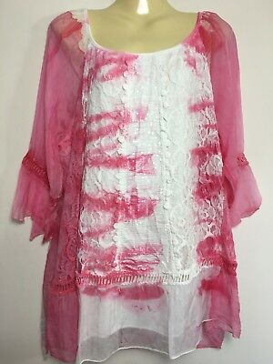 Ladies Italian Lace Top Lagenlook Quirky Sequin Bell Sleeves Tunic Embroidery UK