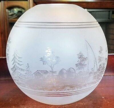 Antique Deep Acid Etched Ball Fishing Country Shade For Oil Gas Kerosene Lamp