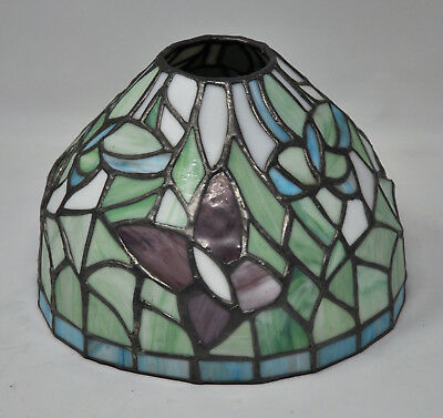 """Tiffany Style Stained Glass Leaded Lamp Shade Approximately 5"""" Tall 7"""" Diameter"""