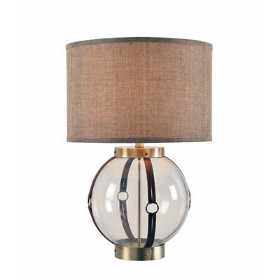 Tanner Clear Glass with Antique Brass and Leather Accents 17-Inch One-Light