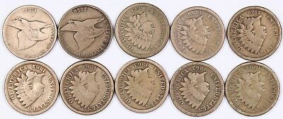 Lot of 10 Flying Eagle & Indian Head Copper-Nickel One Cent 1C 1857-1864 CN D