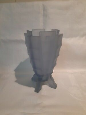 Large Art Deco Bagley Frosted Blue Pressed Glass 'Bamboo' Vase