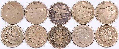 Lot of 10 Flying Eagle & Indian Head Copper-Nickel One Cent 1C 1857-1863 CN E