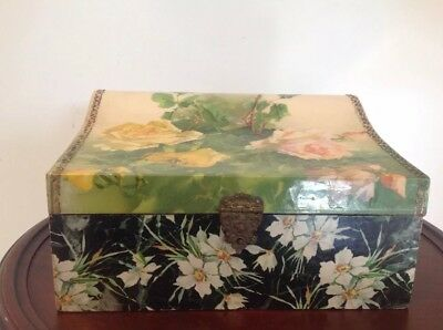 Antique Victorian Celluloid Vanity Dresser Jewelry Box Pink & Yellow Roses Silk
