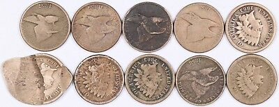 Lot of 10 Flying Eagle & Indian Head Copper-Nickel One Cent 1C 1857-1863 CN F