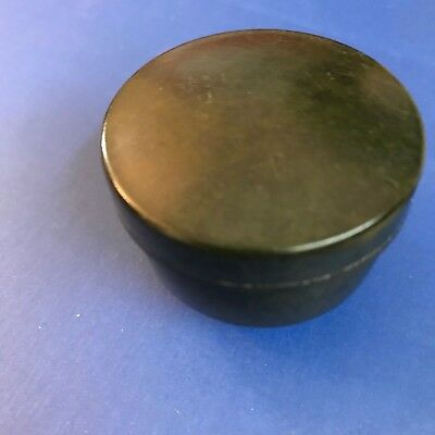 collectable c1930s vintage little bakelite inkwell with screw on lid dark green