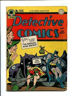 Detective Comics #105 VINTAGE Batman DC Comic Golden Age 10c Robin WHITE PAGES