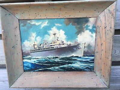 Original Illustration of WWII Navy Ship oil on Board very well done