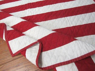 Christmas Red! c 1880s Stripes ANTIQUE Quilt Farmhouse Holiday Decorating